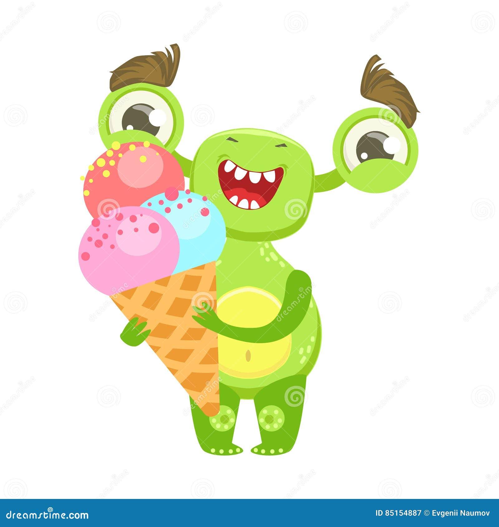 Il gelato divertente sorridente della tenuta del mostro in cono, si inverdisce l autoadesivo del personaggio dei cartoni animati
