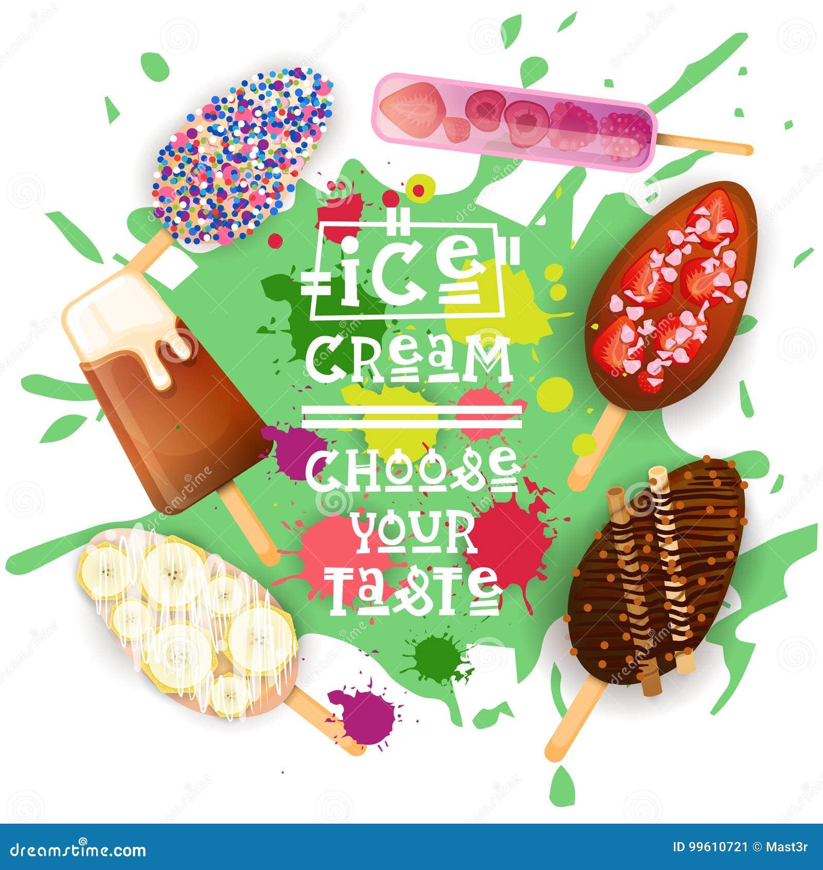 Il gelato Lolly Set Colorful Desserts Collection sceglie il vostro manifesto del caffè del gusto