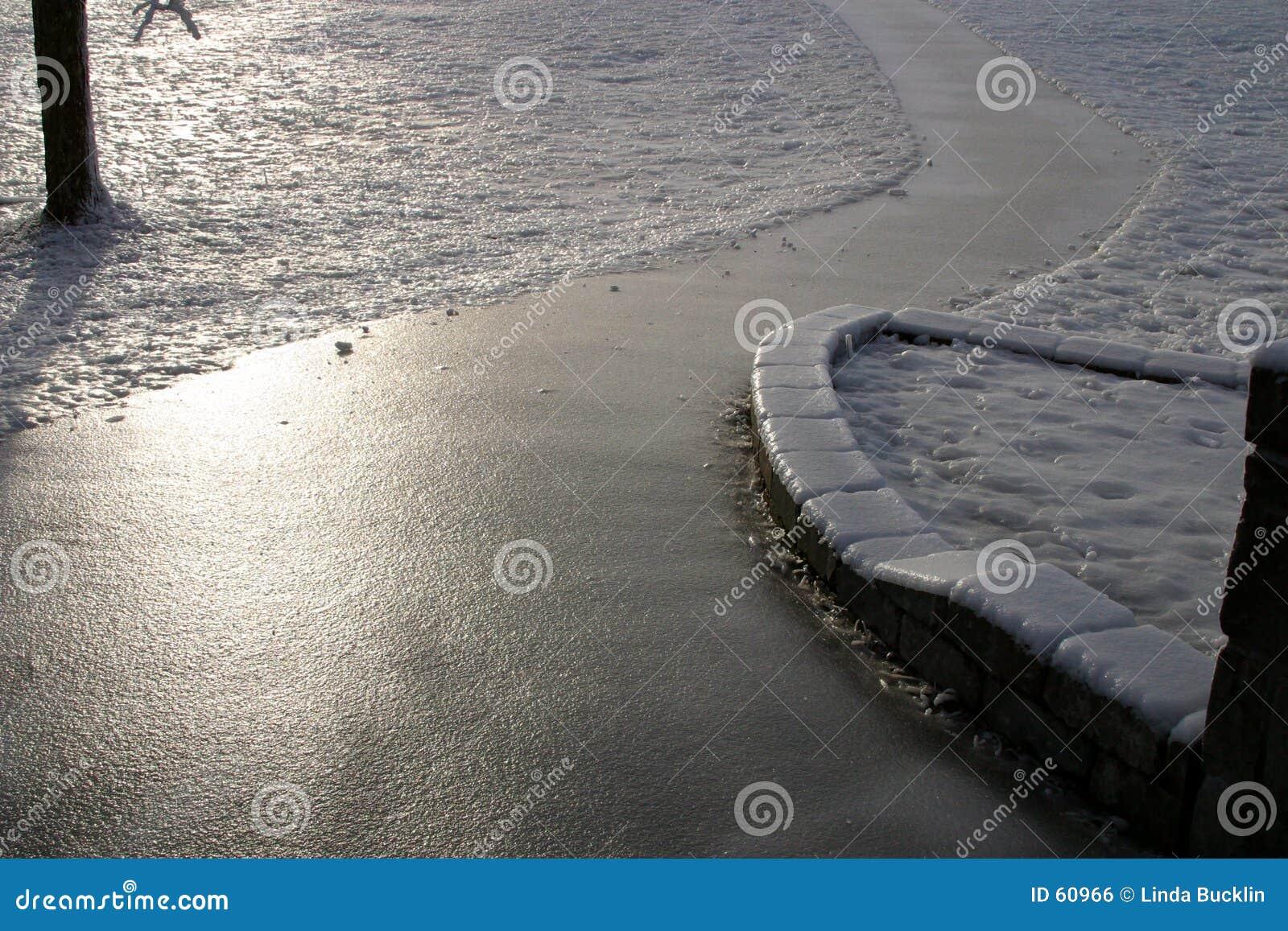 Il ghiaccio ha coperto il sentiero per pedoni