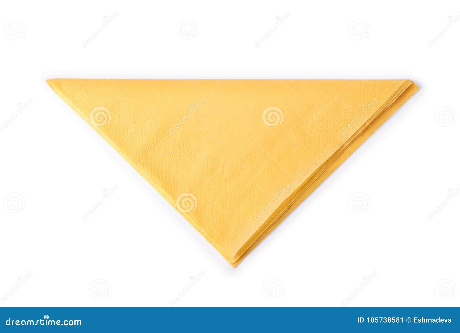 Piegare Tovaglioli Di Carta il giallo ha piegato il tovagliolo di carta isolato con il