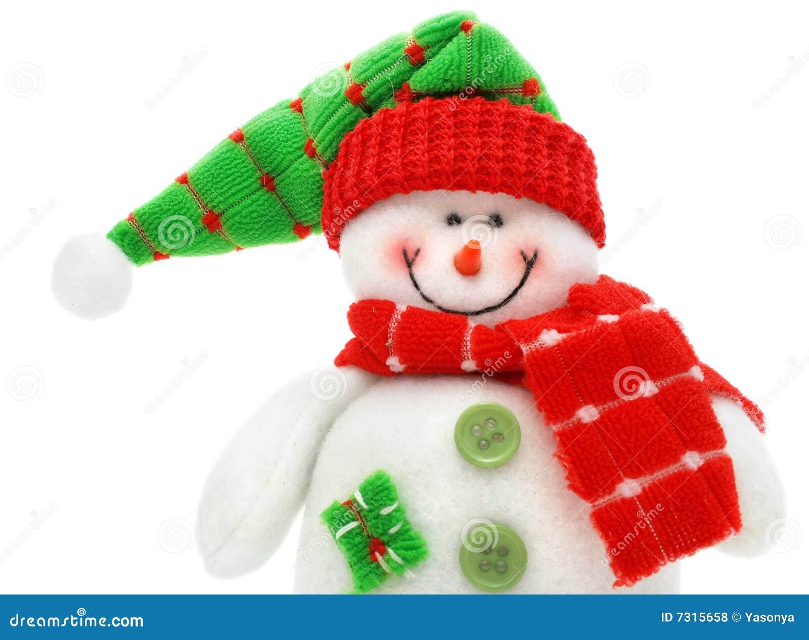 Il giocattolo sorridente del pupazzo di neve si è vestito in sciarpa e protezione