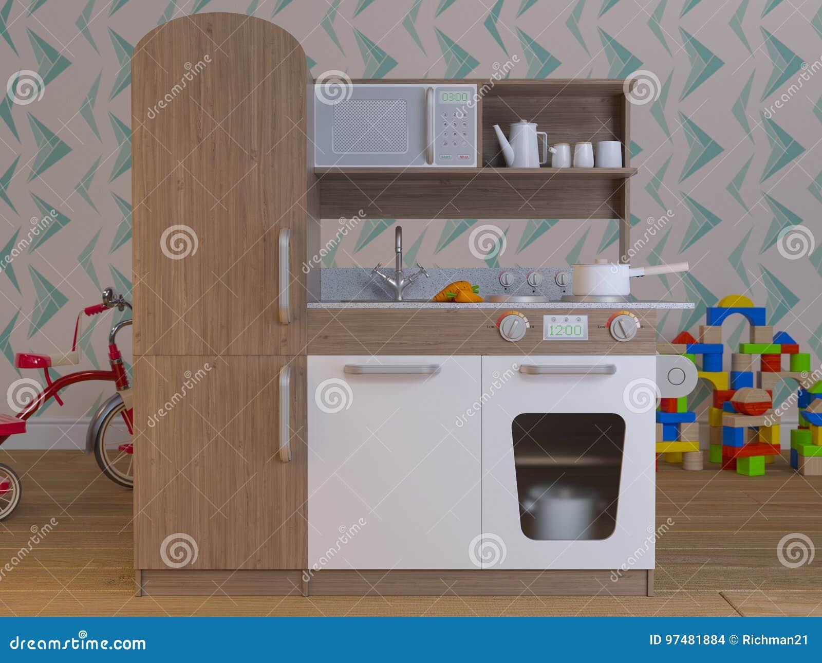 Il gioco interno di progettazione della cucina dei bambini ha messo con gli accessori