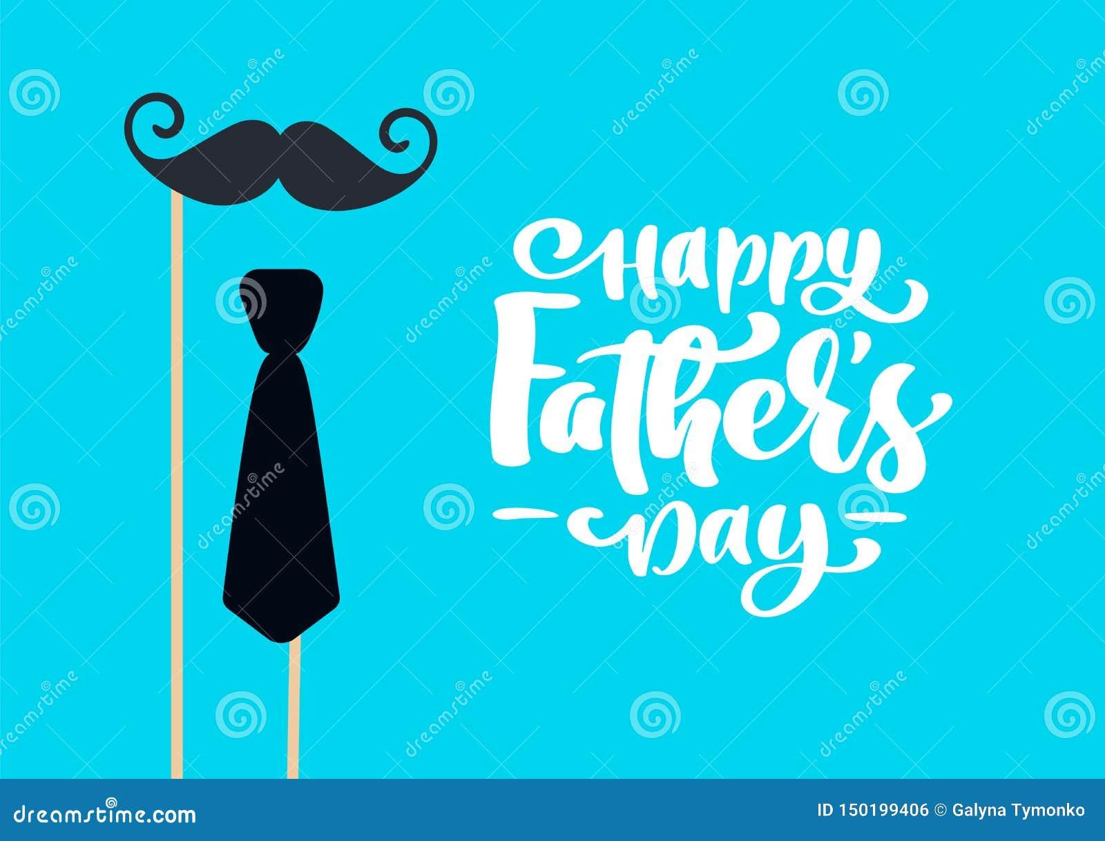 Il giorno di padri felice ha isolato il vettore che segna il testo con lettere calligrafico con i baffi ed il legame Calligrafia