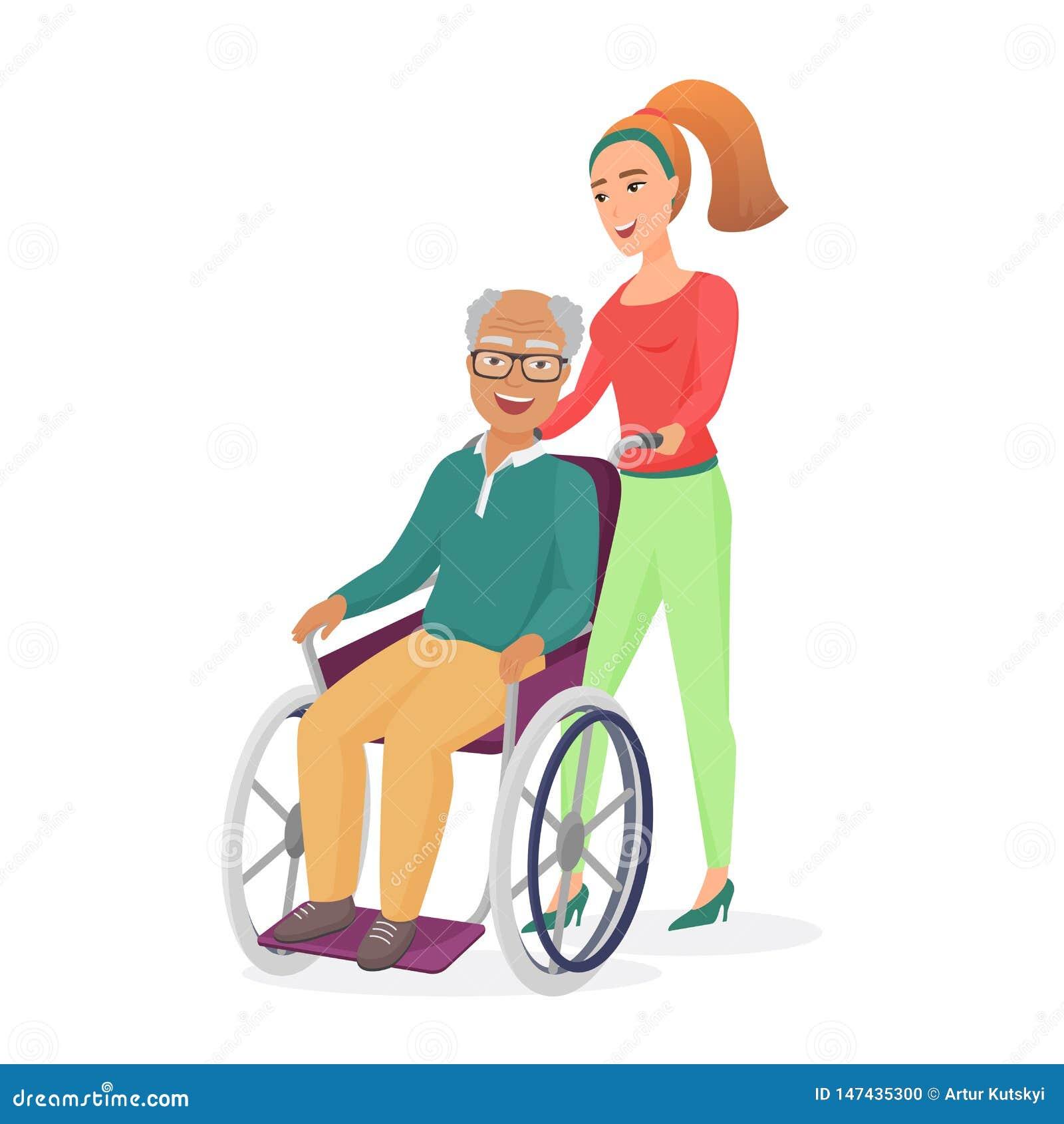 Il giovane assistente sociale o figlia femminile in buona salute sorridente, prende la cura sul papà o sul nonno positivo disabil