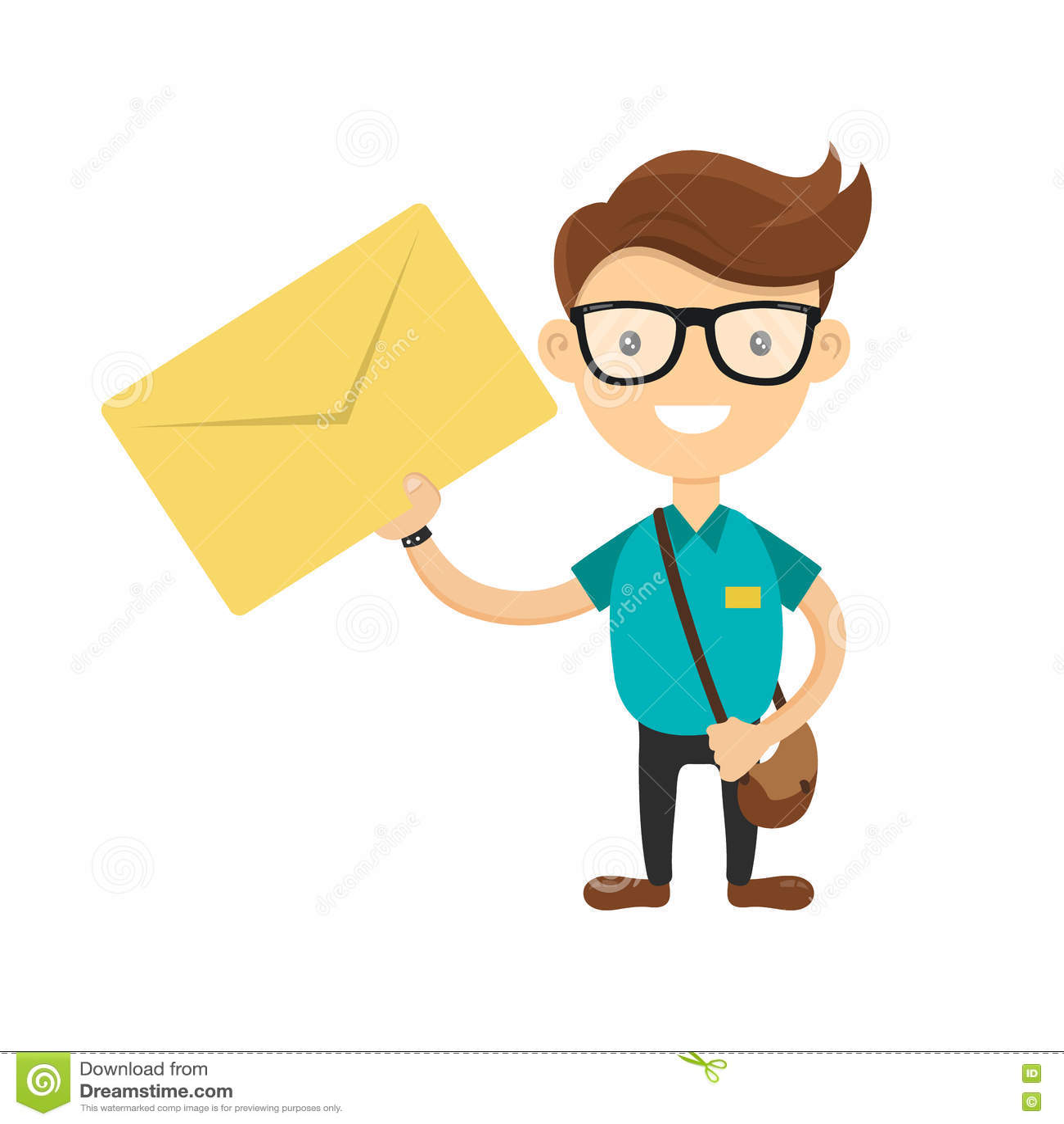 Il giovane corriere o postino ha consegnato la lettera Avete un concetto della lettera Personaggio dei cartoni animati piano di v