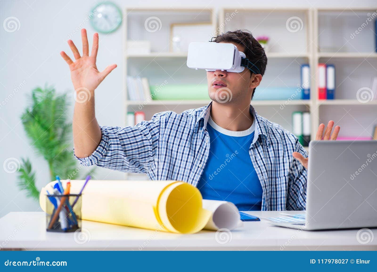 Download Il Giovane Progettista Con I Vetri Del Vr Di Realtà Virtuale Immagine Stock - Immagine di illustrazione, disegno: 117978027