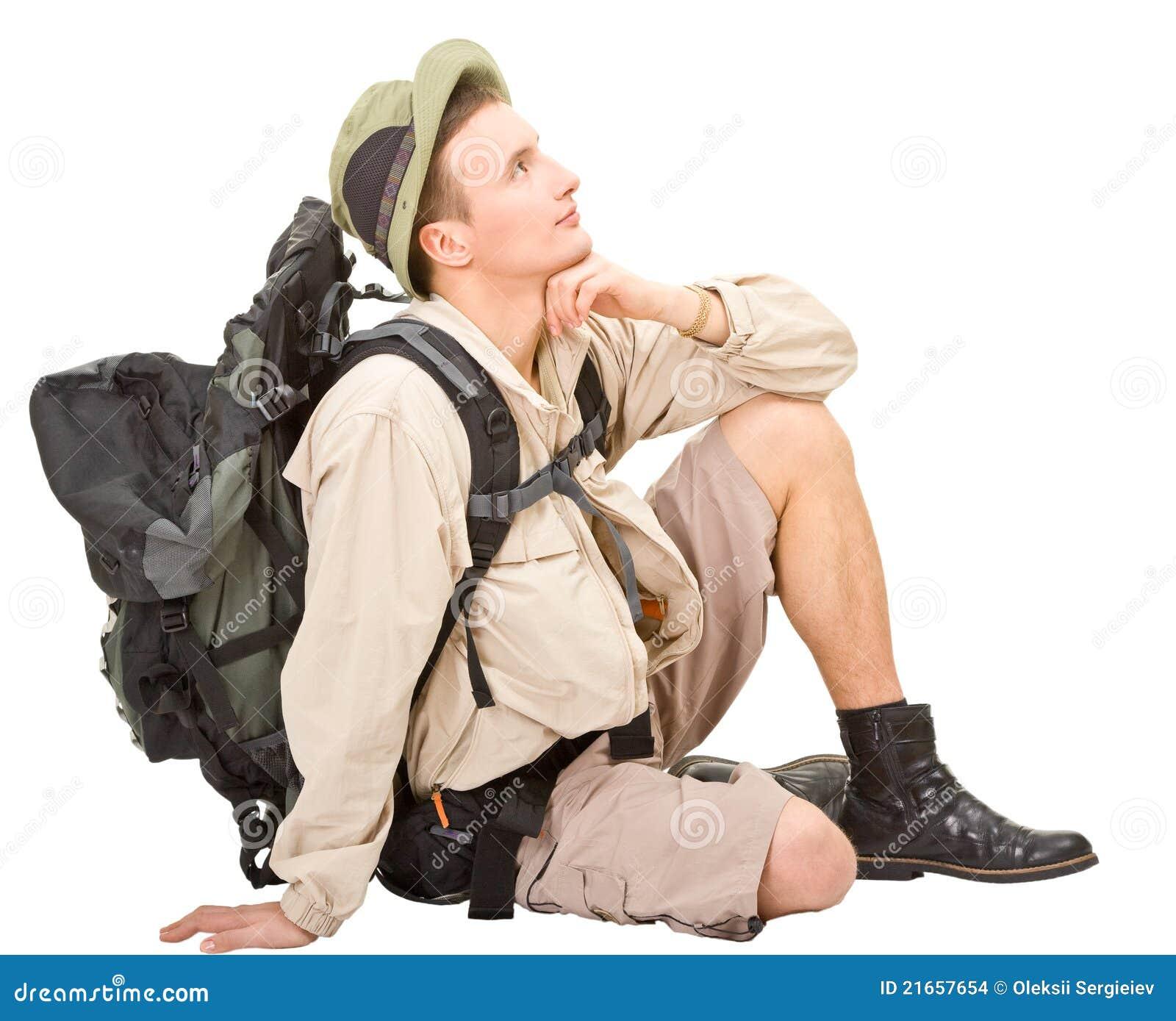 Il giovane si è vestito in un turista