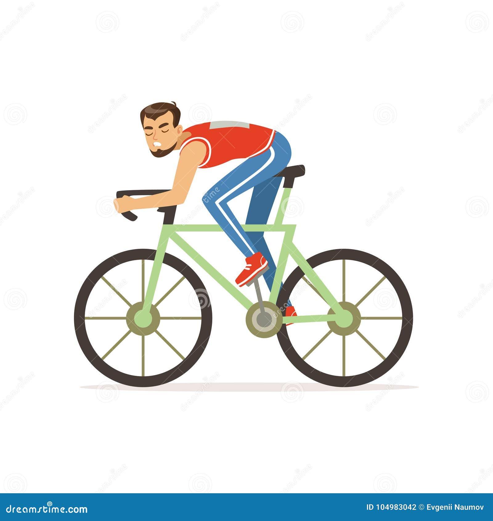 Il Giovane Uomo Del Ciclista Partecipa In Bicicletta Che Corre La
