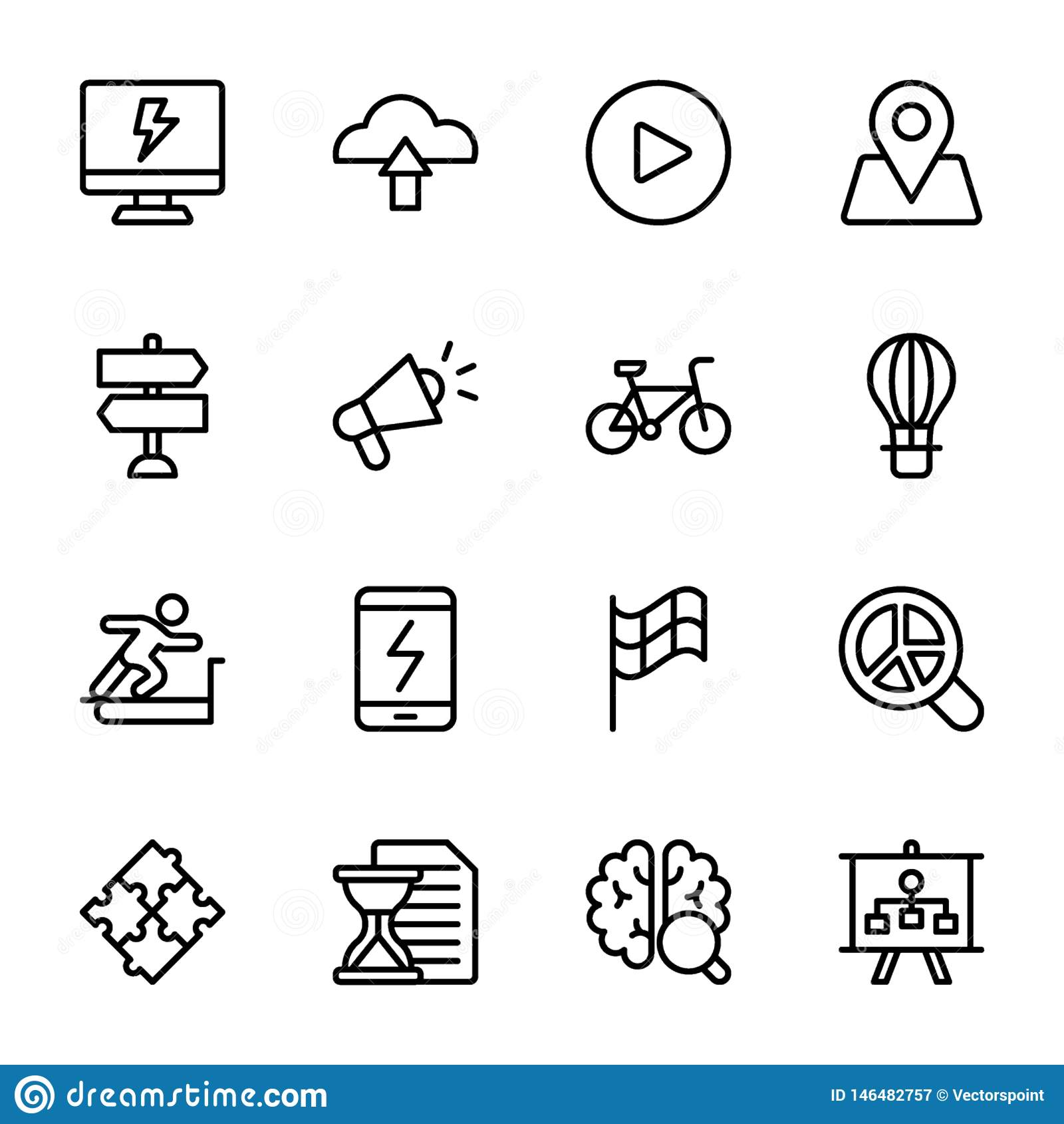 Il grafico, sprint, spinta, cervello, linea icone di guadagno imballa