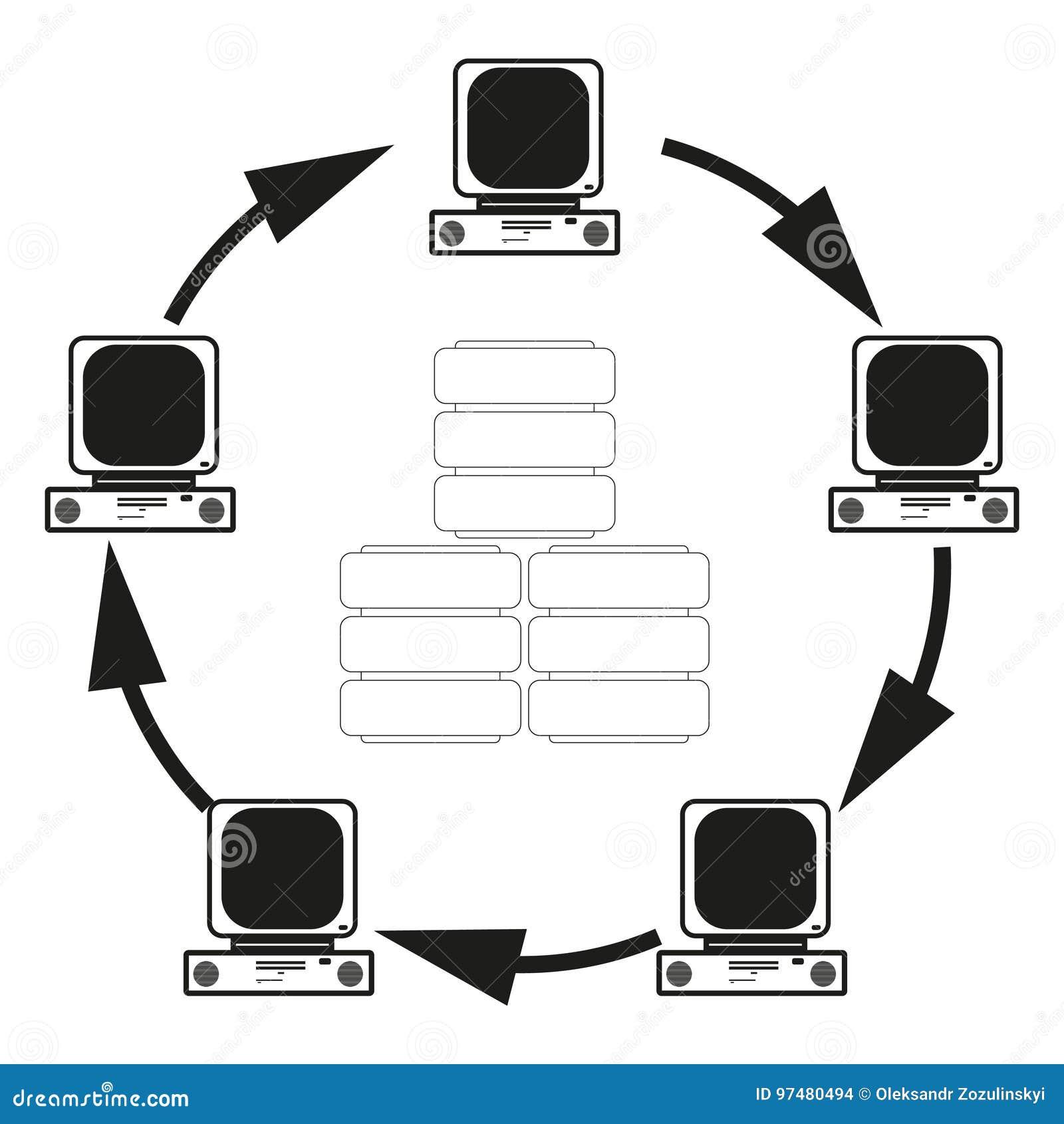 Il grande concetto di dati della comunicazione dei computer Vector l icona nera su fondo bianco