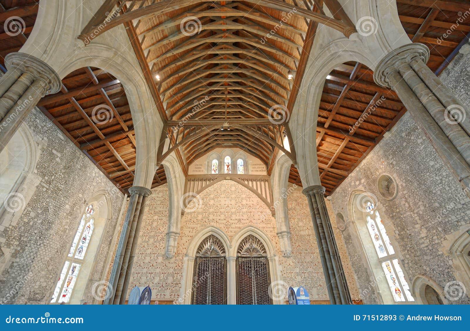 Il grande corridoio del castello di Winchester nel Hampshire, Inghilterra