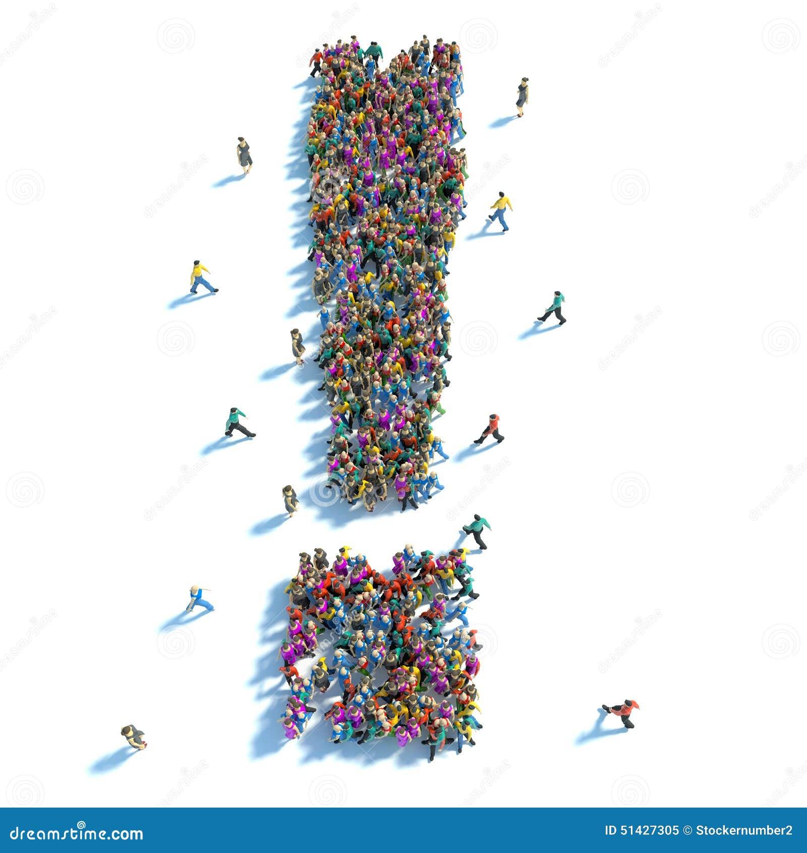 Il grande gruppo di persone è stato sotto forma di punto esclamativo