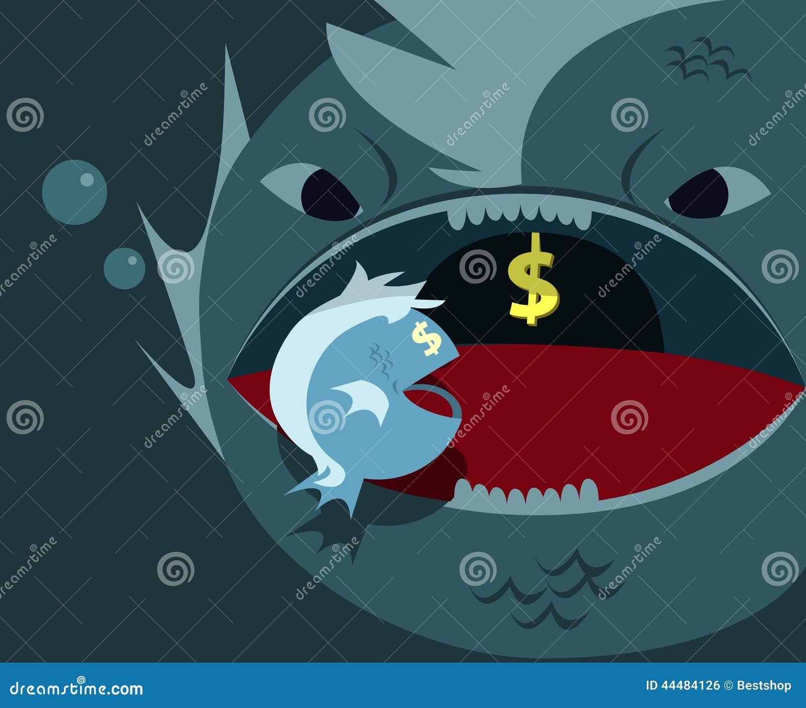 Il grande pesce mangia i piccoli pesci illustrazione for Pesci da laghetto mangia zanzare