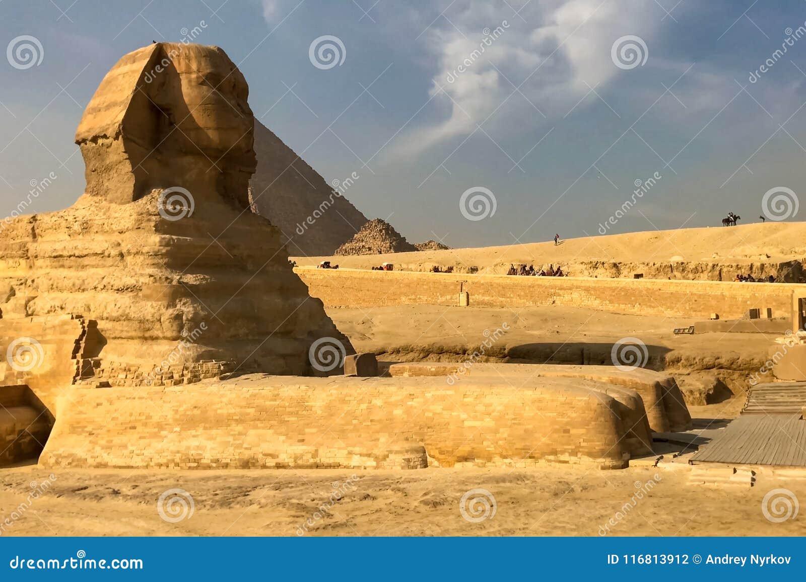 Il grande Sphinx Sphinx egiziano La settima meraviglia del mondo Megaliti antiche