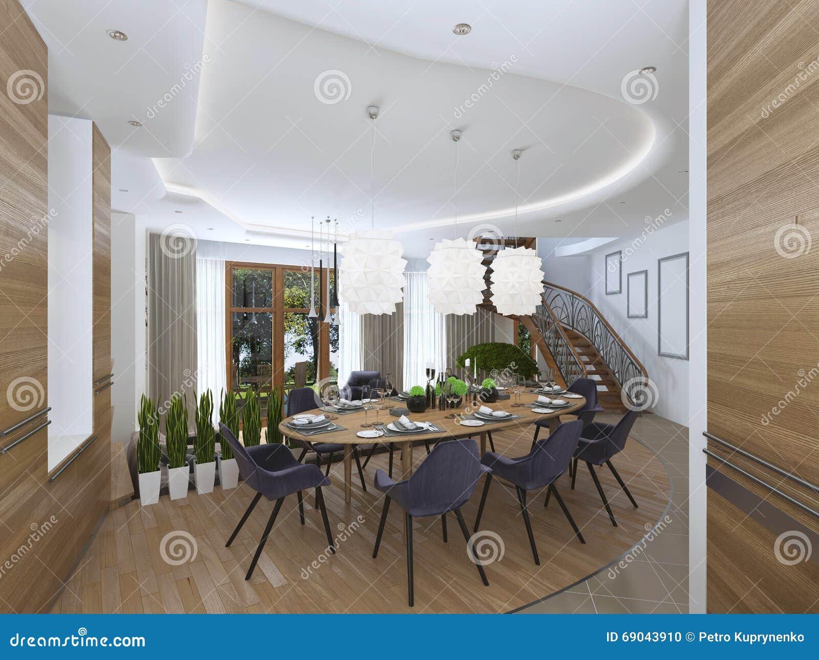 Il Grande Tavolo Da Pranzo Nell Area Della Cucina Fotografia Stock Immagine Di Vetri Contemporaneo 69043910
