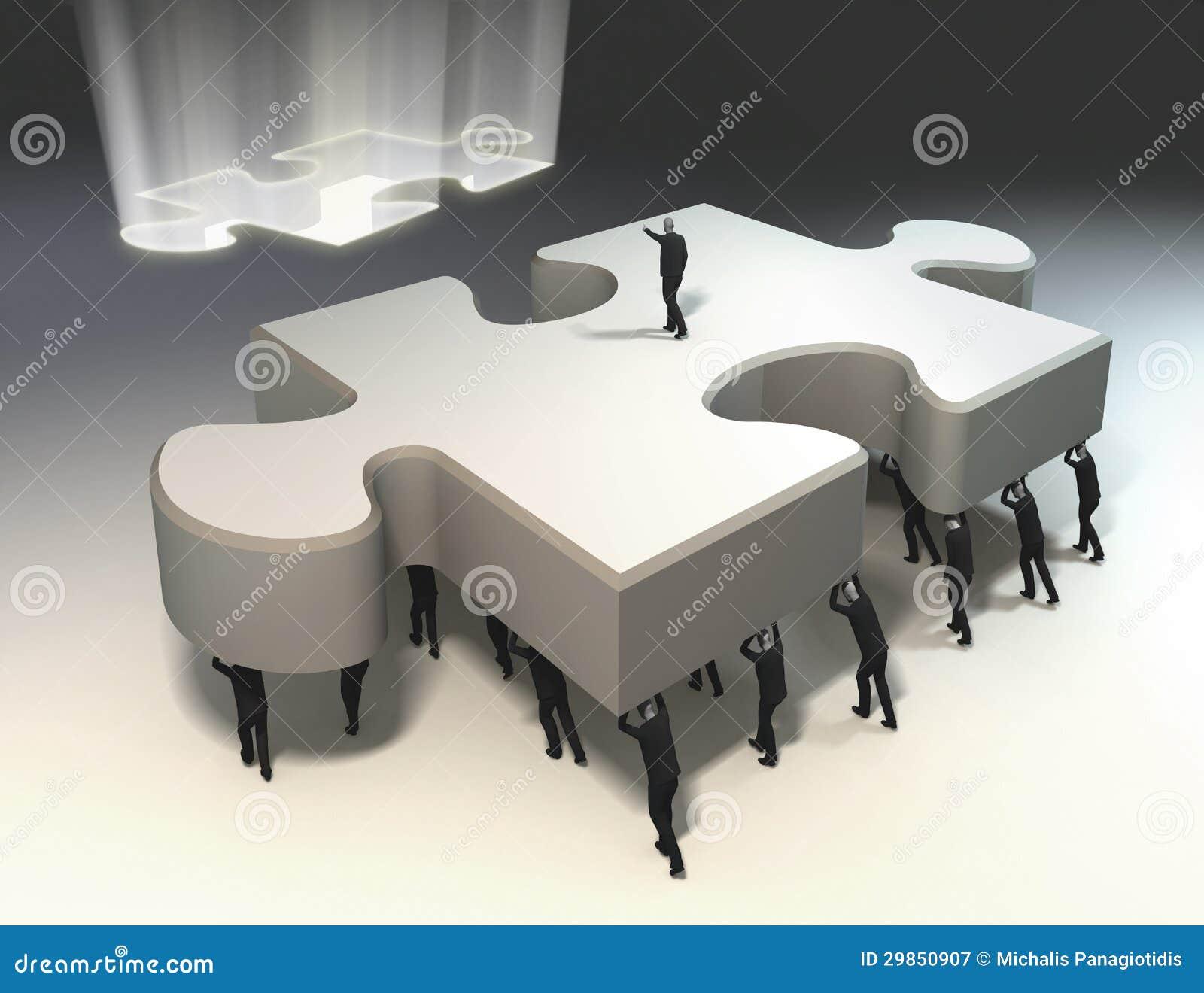 Lavoro di squadra e direzione per il pezzo di puzzle