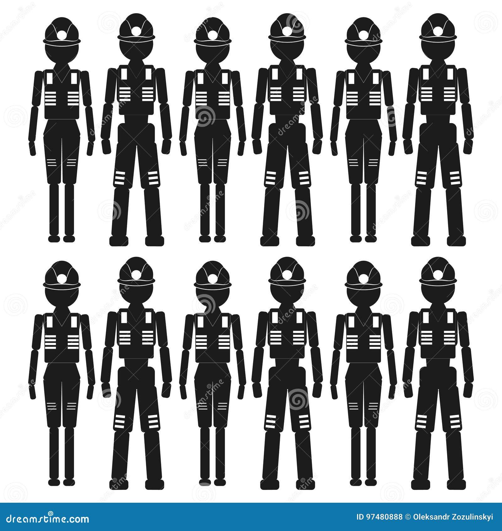 Il gruppo di lavoratori Vector l icona nera su fondo bianco