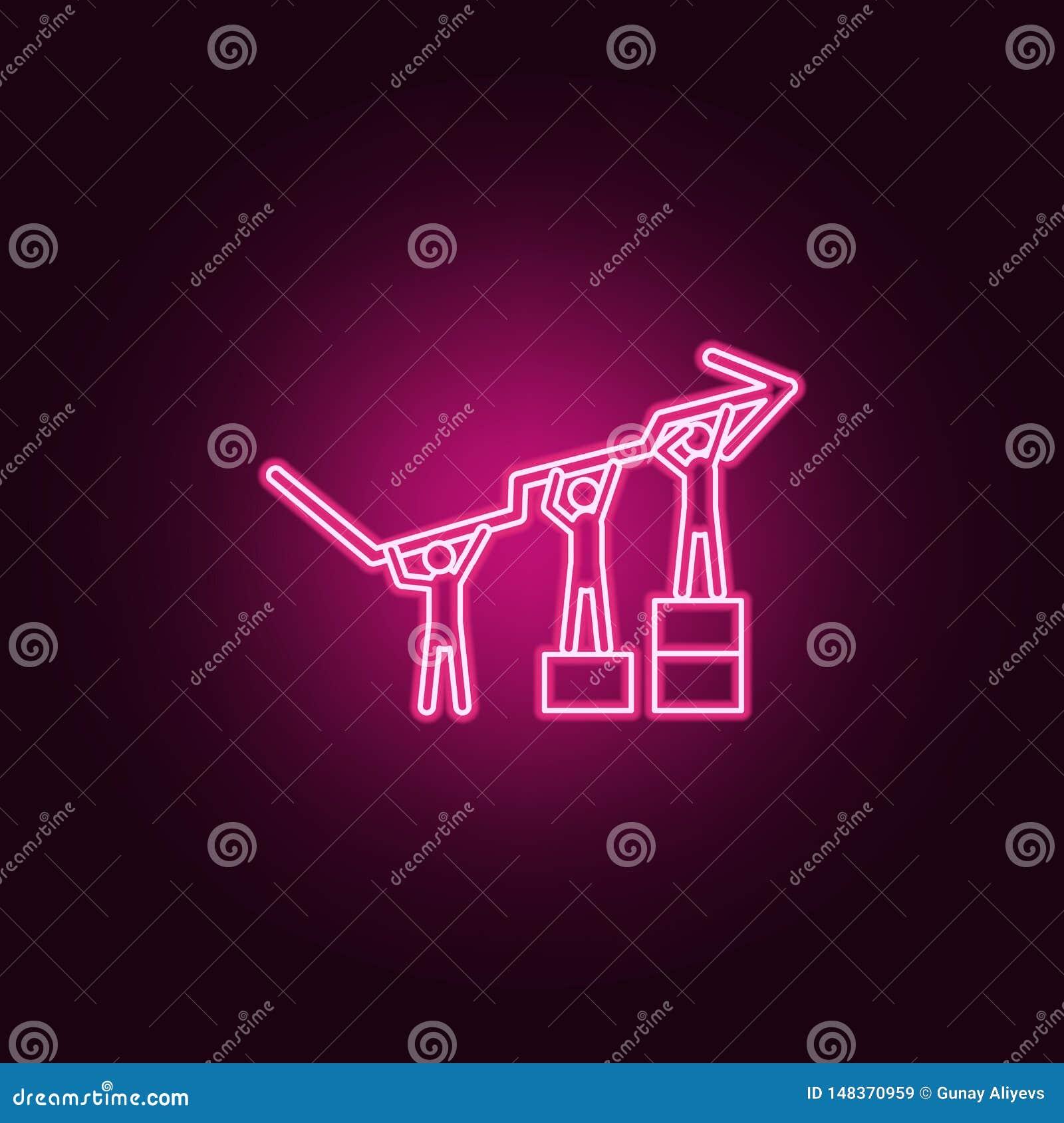 Il gruppo solleva insieme l icona al neon degli indicatori del grafico Elementi dell insieme del lavoro di gruppo E