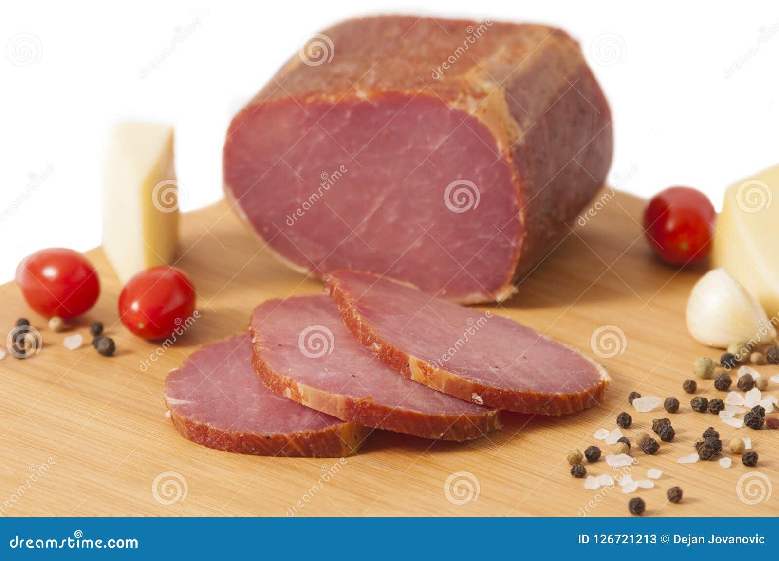 Il hickory ha fumato la lonza di maiale - bacon canadese o Pecenica