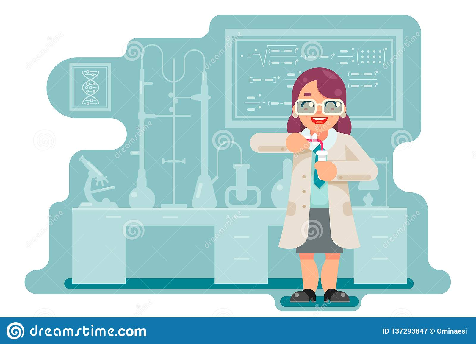 Il laboratorio chimico di esperimento dello scienziato astuto saggio femminile della donna fa una trasfusione la progettazione pi