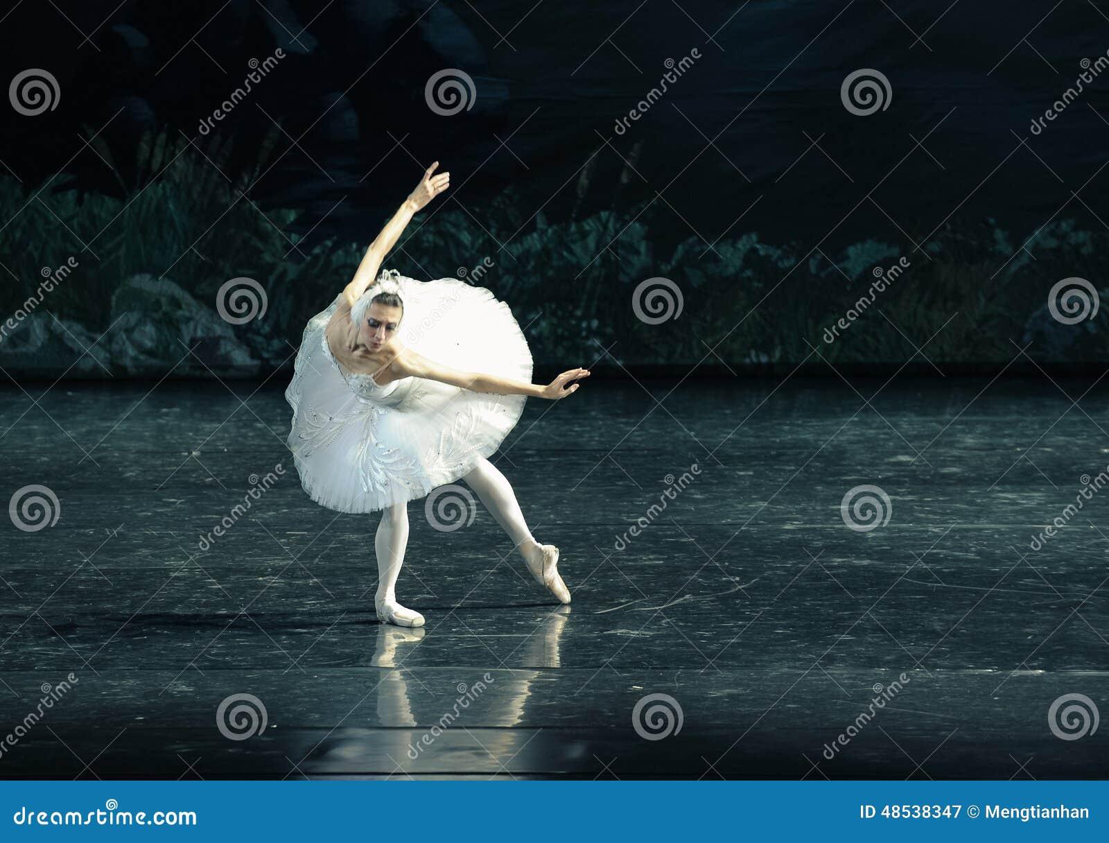 Il lago swan di nuotata-balletto del cigno