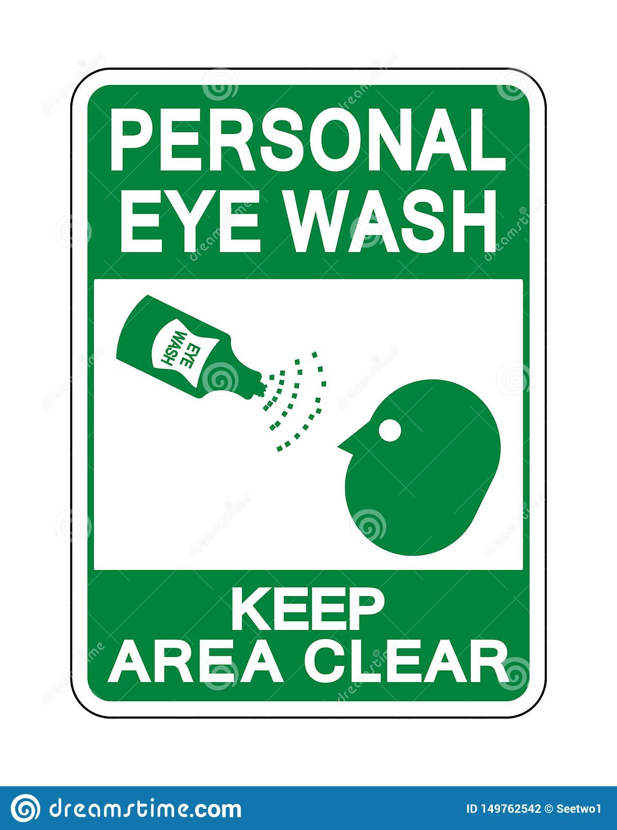 Il lavaggio personale dell occhio tiene l isolato del segno della radura di area su fondo bianco, illustrazione di vettore