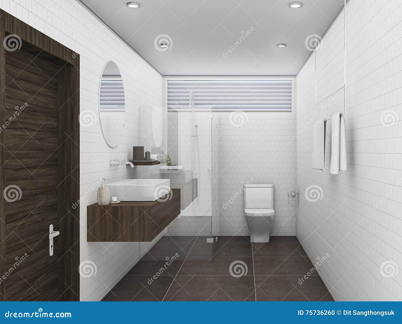 il legno di quercia della rappresentazione 3d ed il mattone bianco piastrellano il bagno della parete