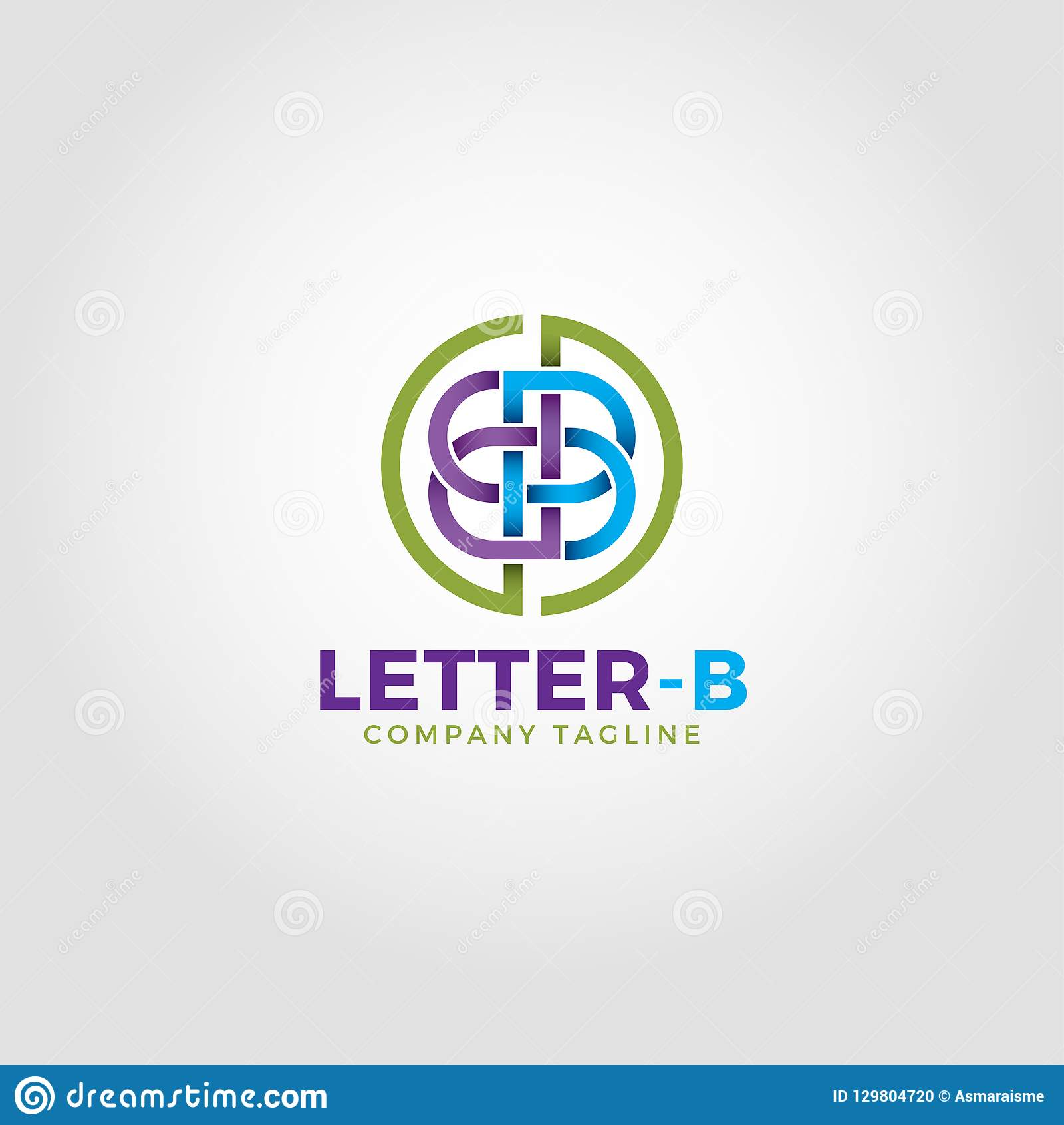 Il logo della lettera B è uno stile alfabetico di Logo With Line Art ed intreccia il concetto