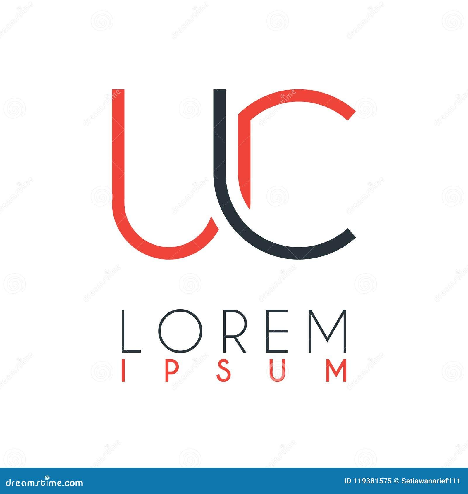 Il logo fra la lettera U e la lettera C o UC con una determinata distanza e collegato da colore arancio e grigio