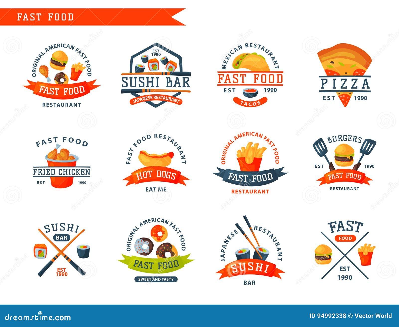 il logo variopinto dell'etichetta degli alimenti a rapida
