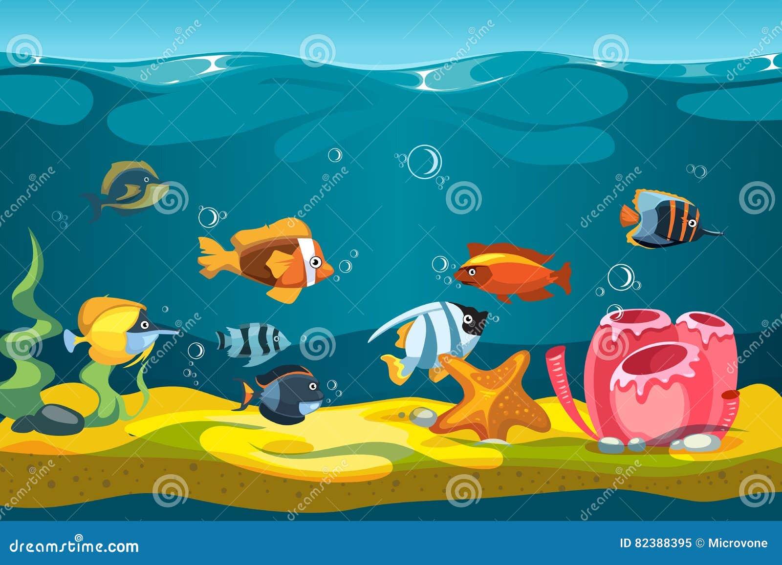 Il Mare Subacqueo Con I Pesci E Le Rocce Vector Il Fondo Per Il