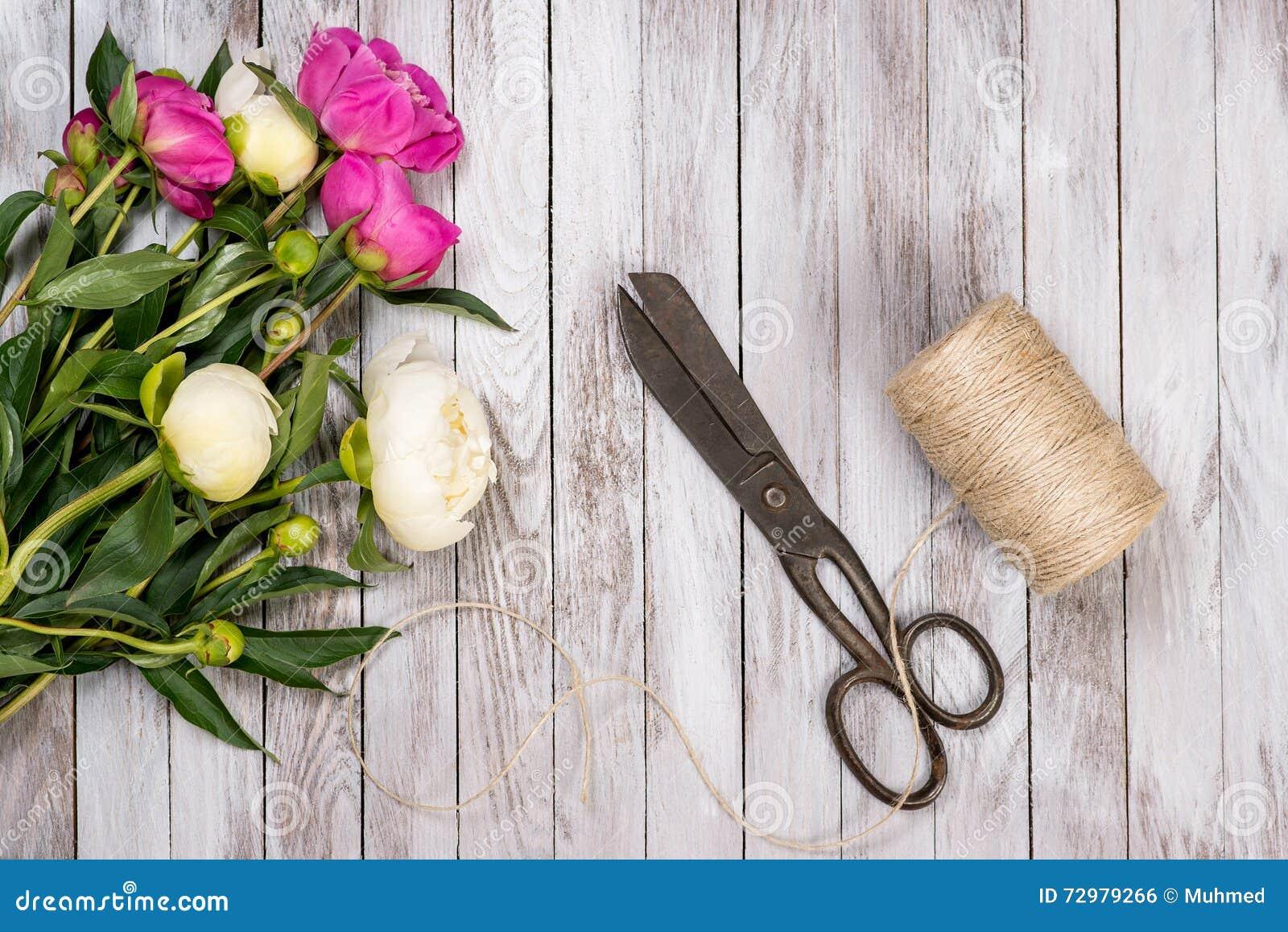 Ha Fiori Bianchi E Rosa.Il Mazzo Dei Fiori Delle Peonie Della Cordicella E Delle Forbici