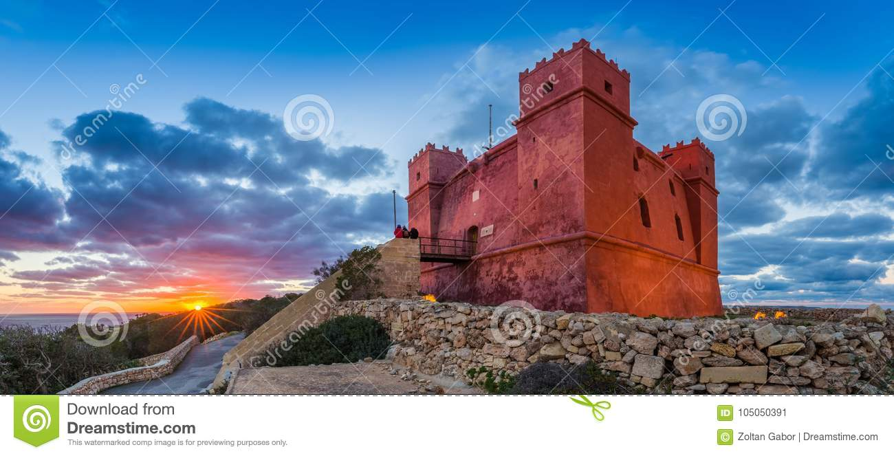Download Il-Mellieha, Malta - Tourists Watching Sunset At St Agatha`s Red Tower With Beautiful Sky Stock Image - Image of architecture, malta: 105050391