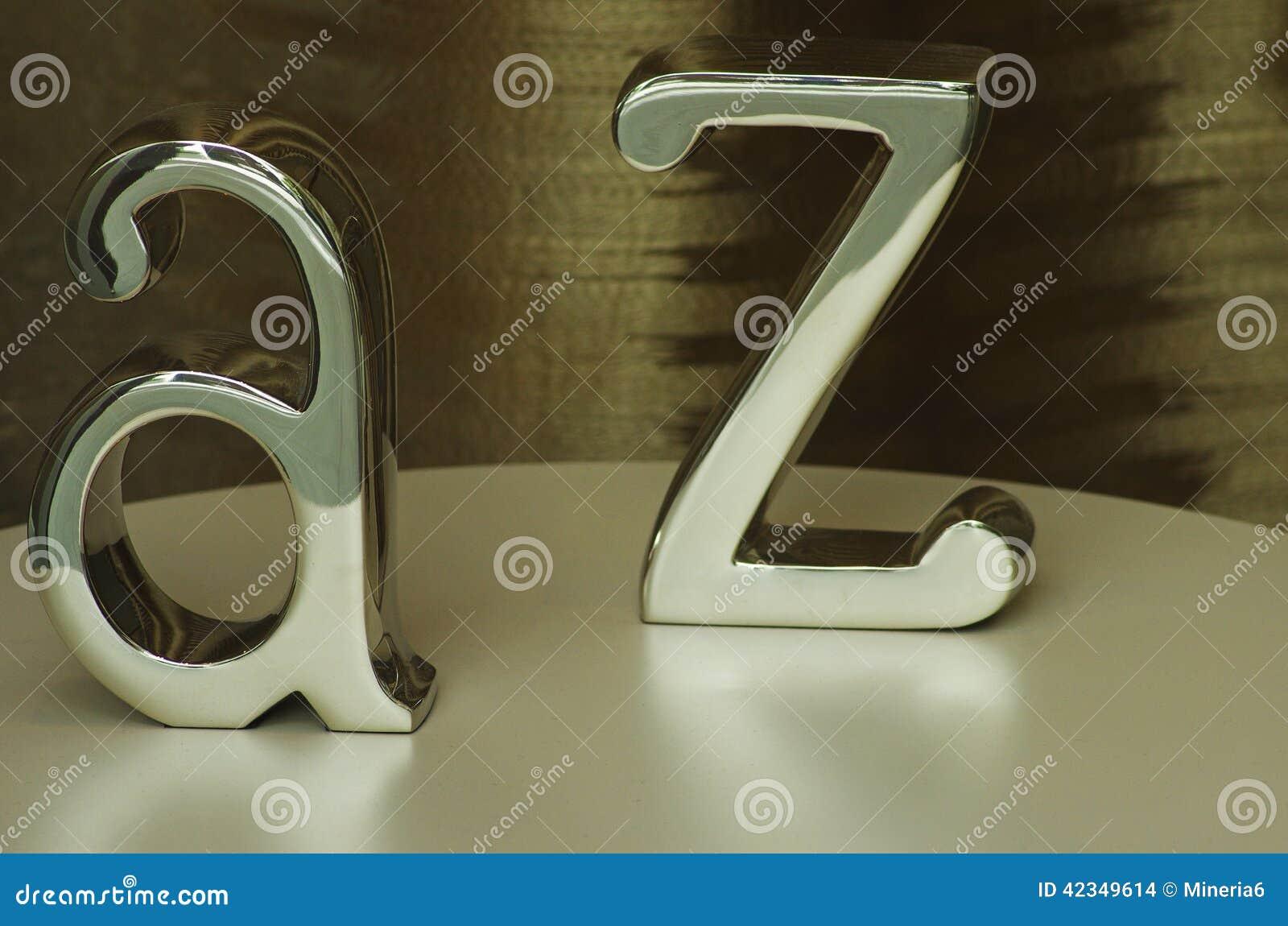 Il metallo segna A e la Z con lettere