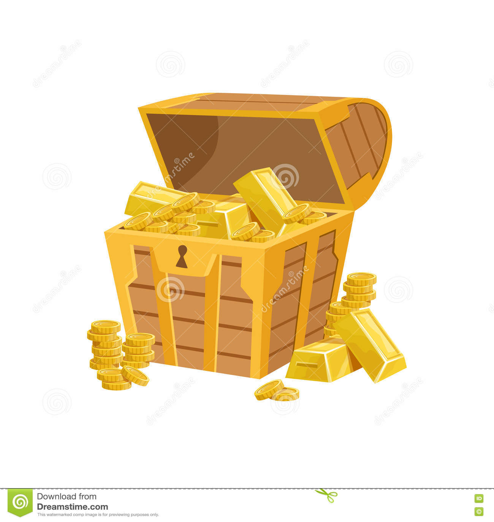 Il mezzo petto aperto del pirata con le barre dorate, il tesoro nascosto e le ricchezze per ricompensa nel flash è venuto la vari