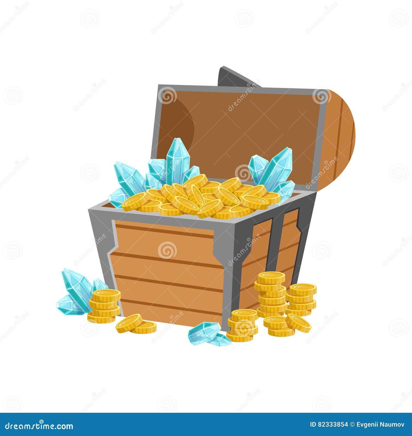Il mezzo petto aperto del pirata con le monete dorate e Crystal Gems blu, tesoro nascosto e ricchezze per ricompensa nel flash è