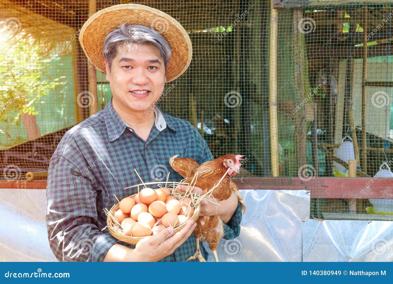 Il midle di Smilling ha invecchiato il pollo della tenuta della mano dell uomo dei capelli ed il canestro grigi delle uova nel lo