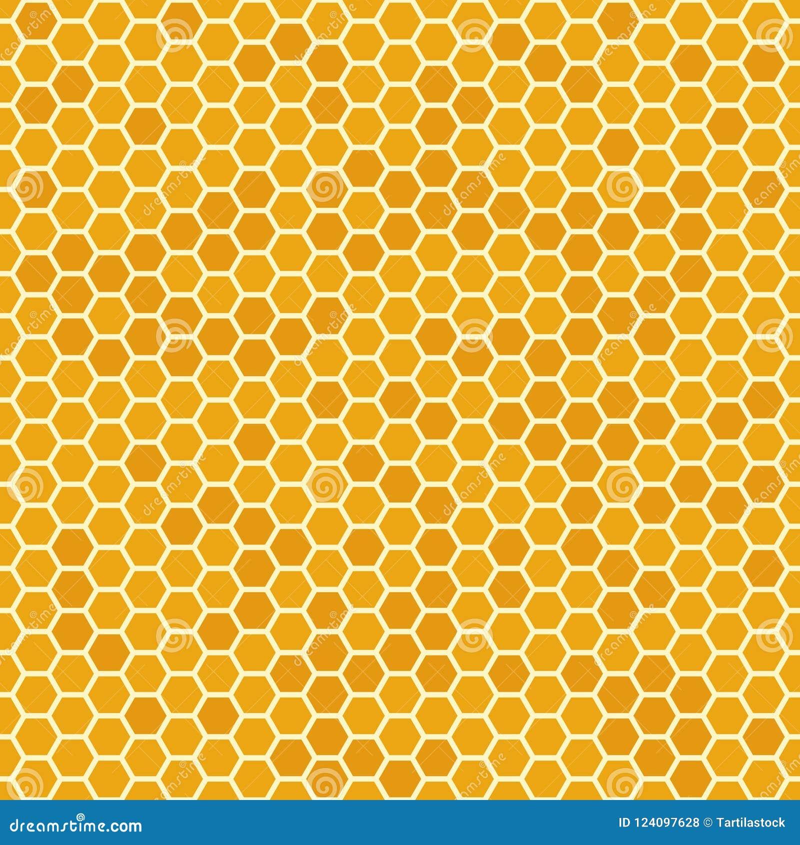 Il miele senza cuciture arancio pettina il modello Struttura del favo, fondo mellifluo esagonale di vettore del pettine