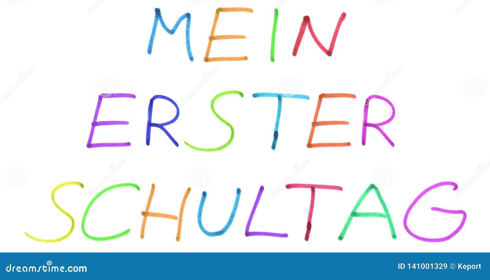 Il mio primo giorno a scuola nella lingua tedesca - testo scritto a mano variopinto