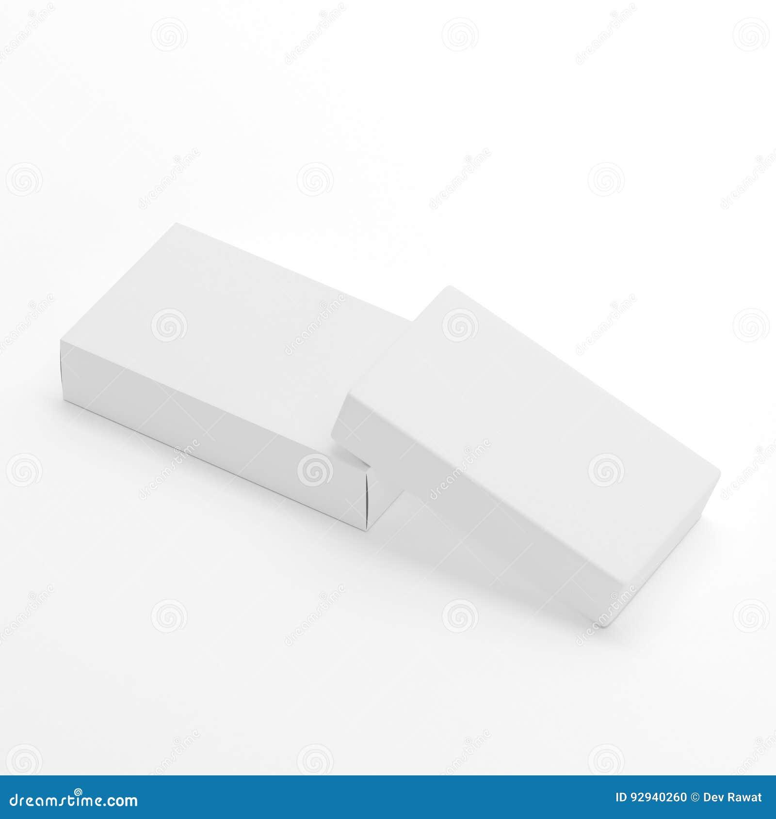 Il modello d imballaggio in bianco del modello della scatola & del sapone su fondo bianco, aspetta per la vostre progettazione e
