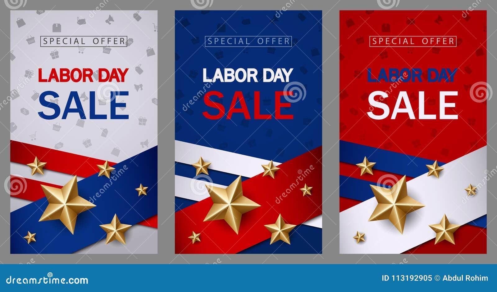 Il modello dell insegna di vendita di festa del lavoro con la bandiera americana e la stella dorata progettano