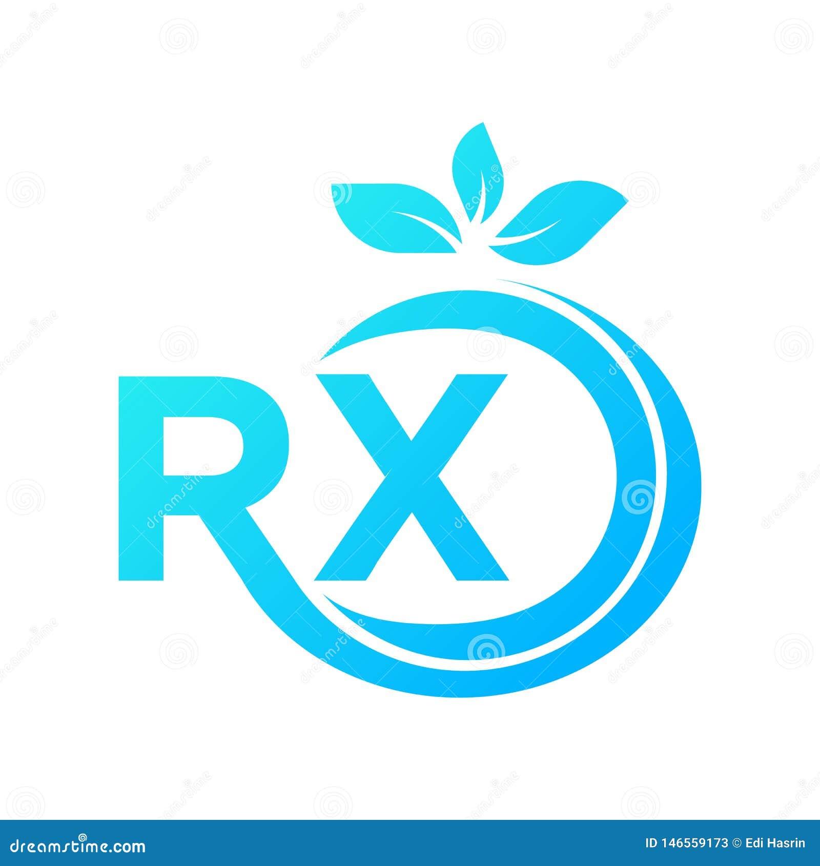 Il modello di logo combinato con le lettere R e X, ? determinato estendere ed all estremit? ci sono foglie