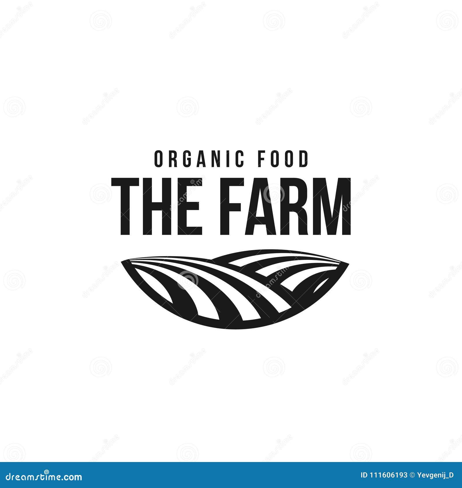 Il modello di logo dell azienda agricola Siluetta del prato, simbolo della terra con l orizzonte nella prospettiva Distintivo del