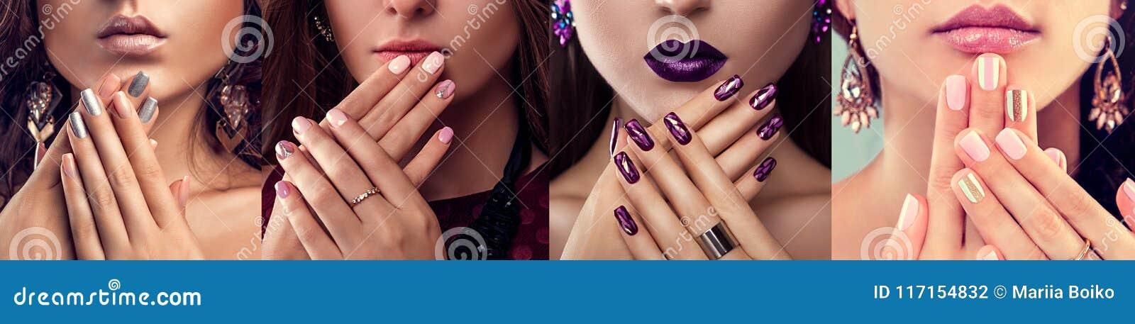 Il modello di moda di bellezza con arte differente del chiodo e di trucco progetta i gioielli d uso Insieme del manicure Quattro