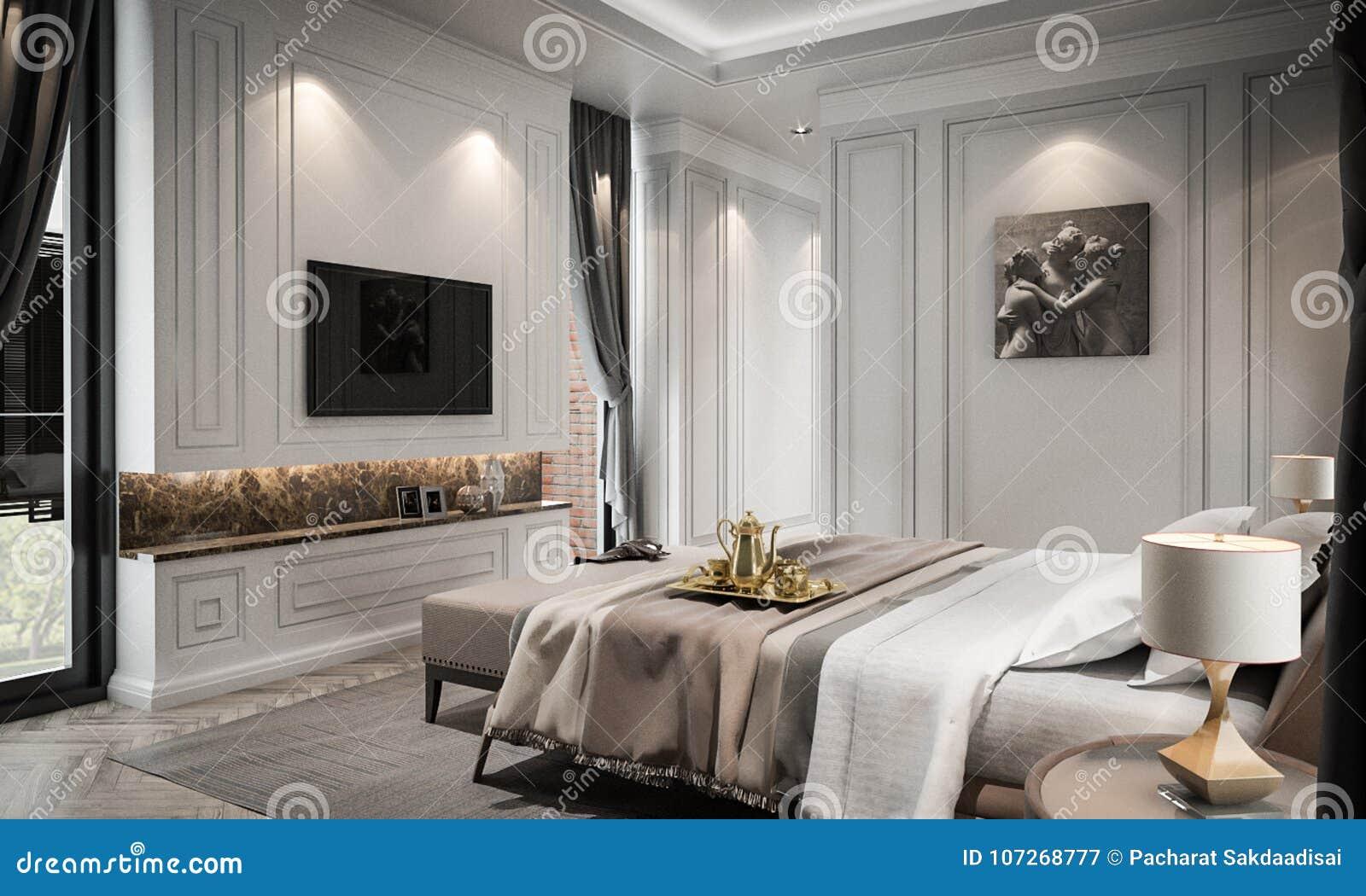 Il modello interno dello studio della camera da letto lo for Stile classico moderno