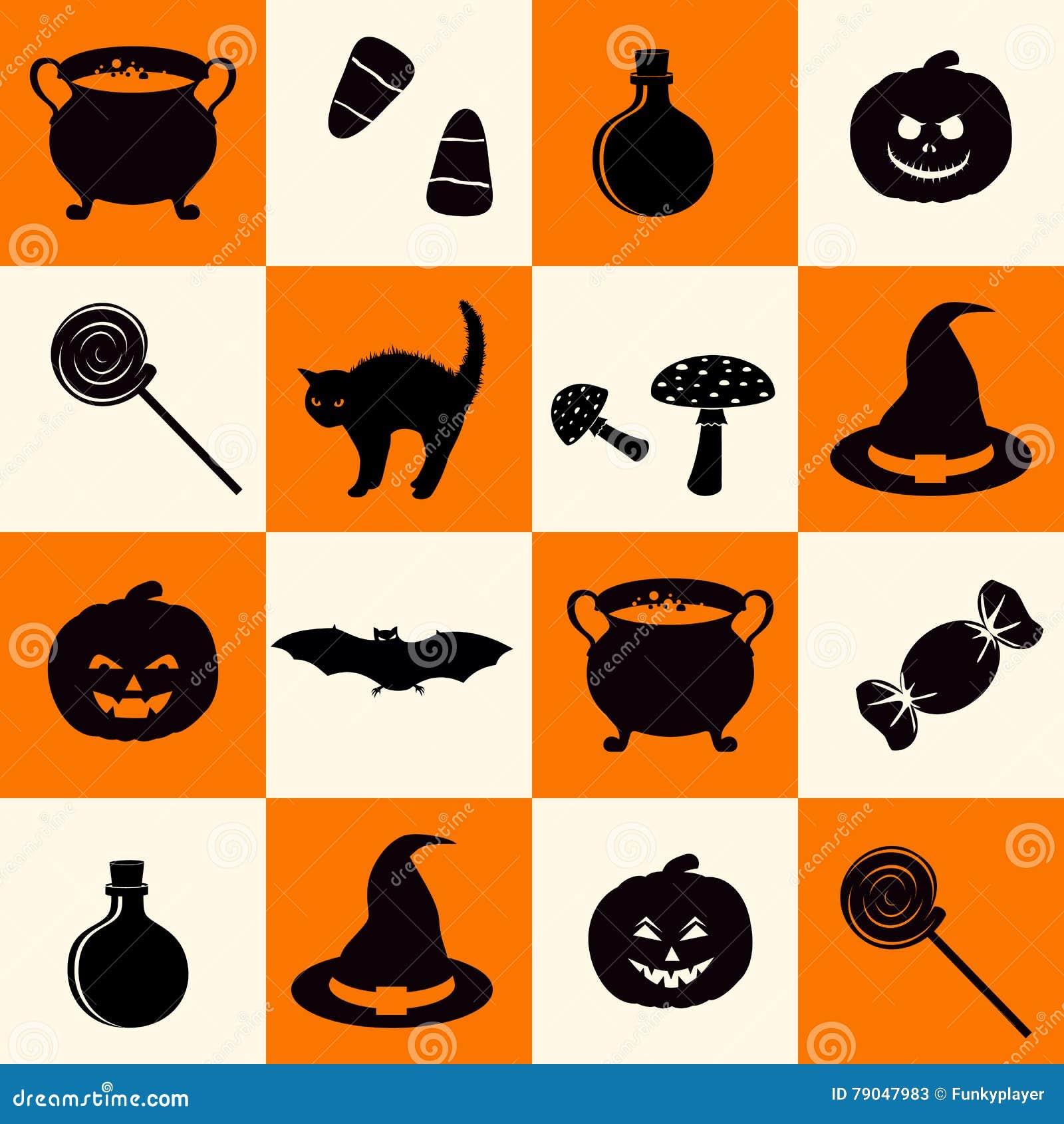 Il modello senza cuciture con la festa nera di Halloween ha collegato le siluette degli oggetti sul fondo della scacchiera