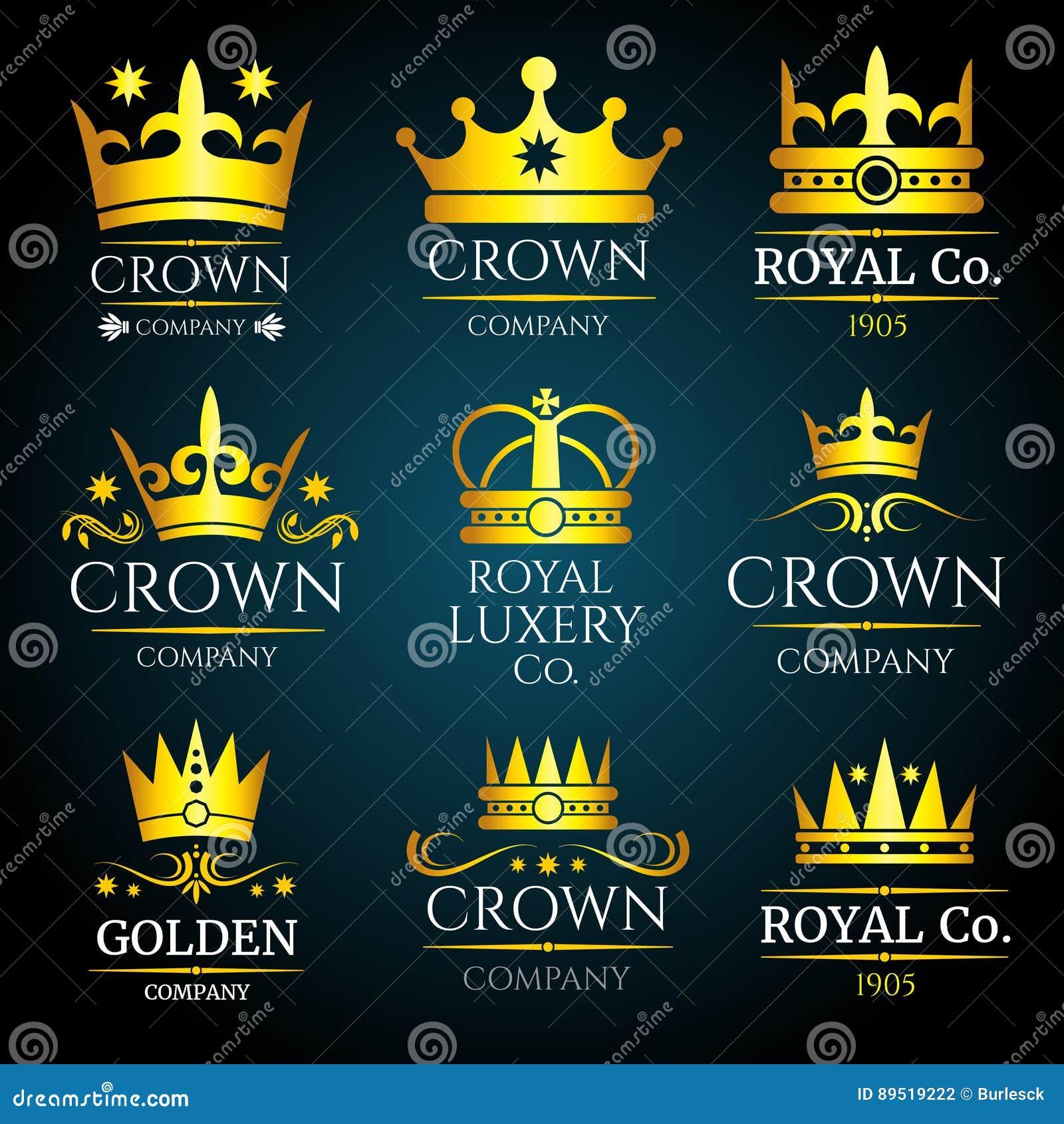 Il monogramma d annata di vettore di lusso della corona, logos ha messo per il boutique ed i gioielli
