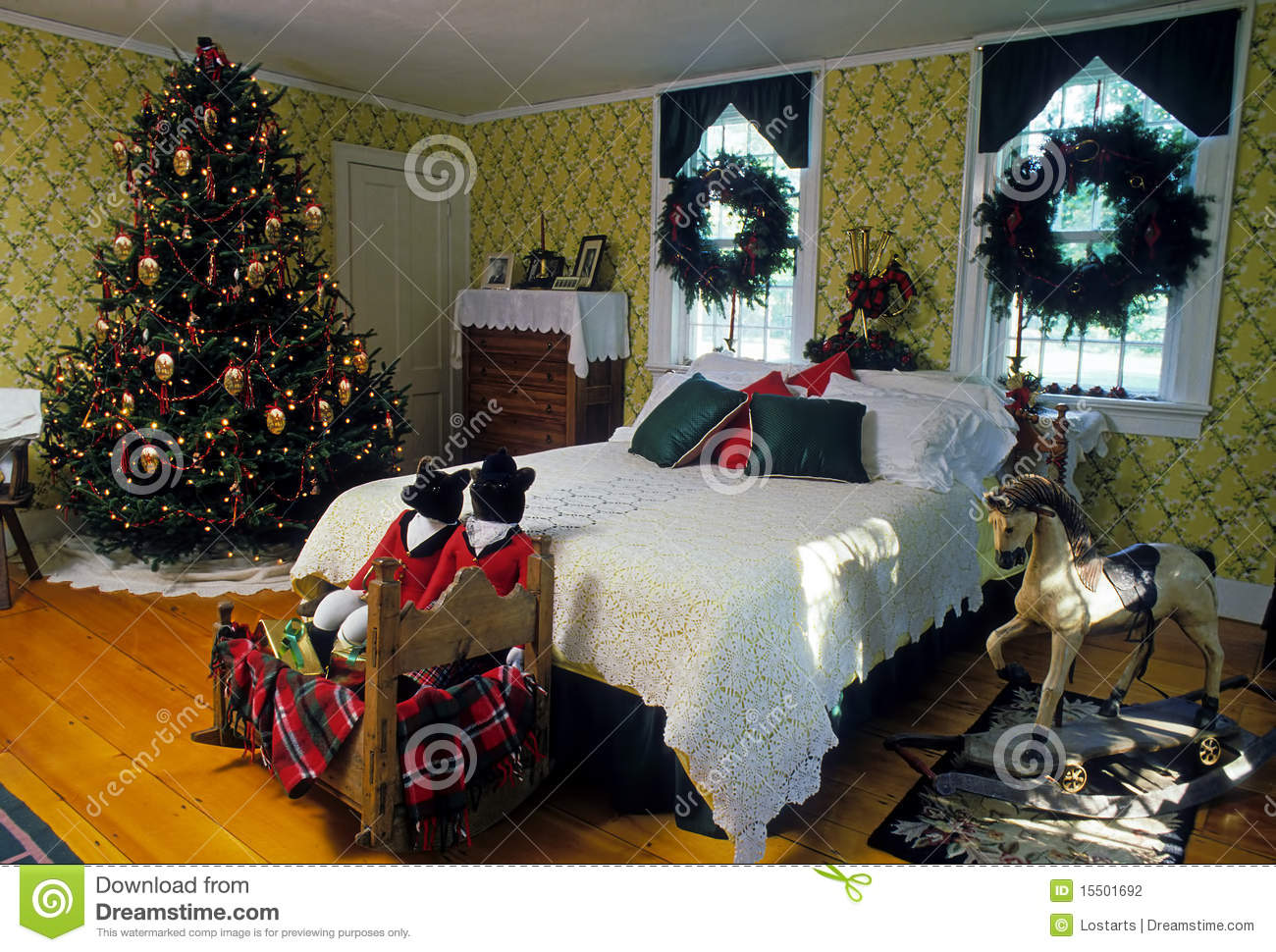 il natale ha decorato la camera da letto fotografia stock