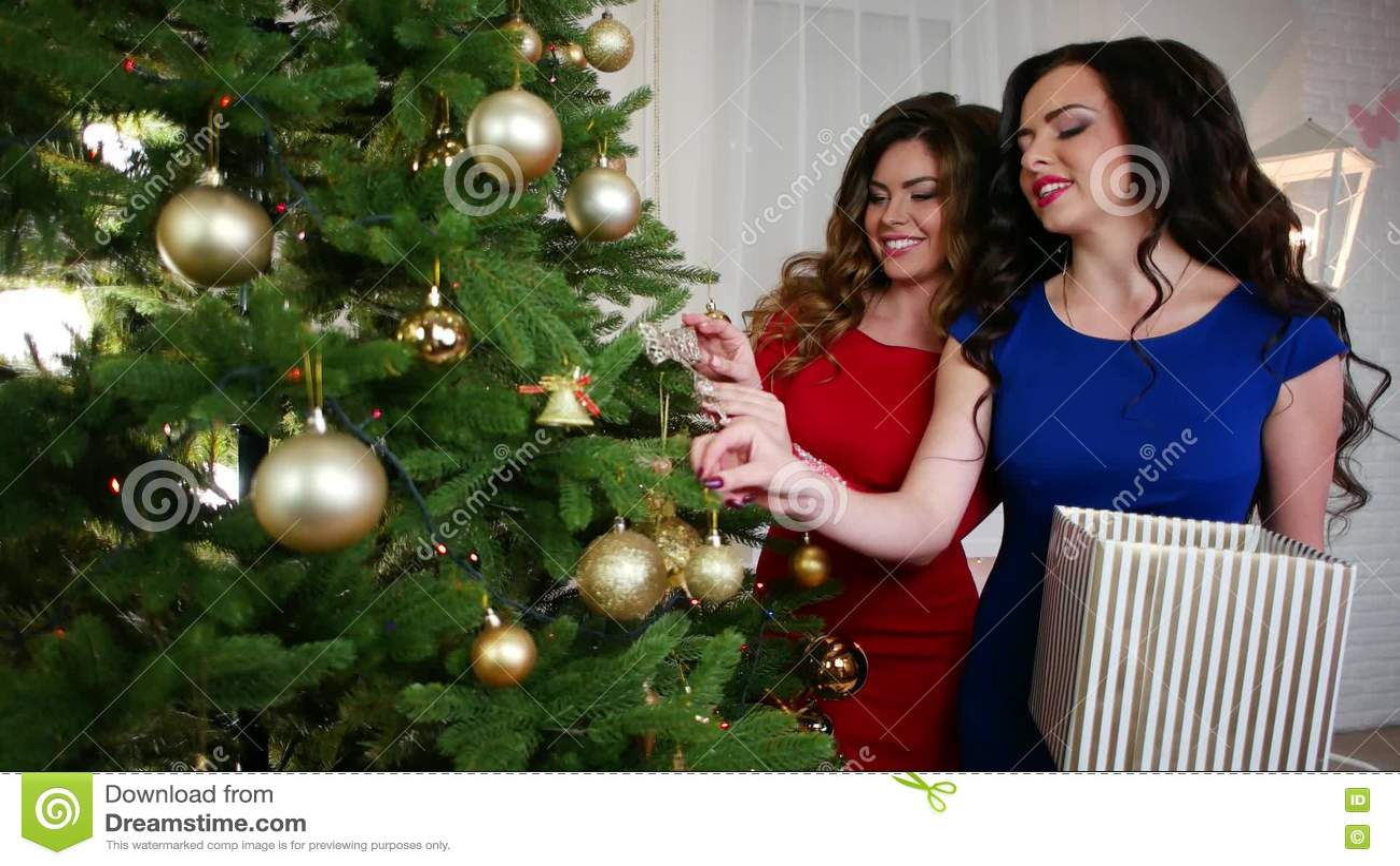 Il Natale Le Belle Amiche Sta Preparando Per La Festa Decora L