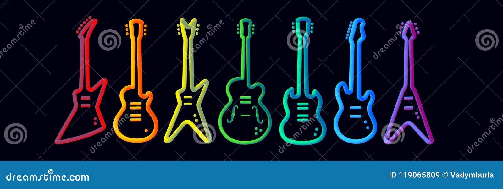 Il neon degli strumenti musicali di colore dell arcobaleno tubed la prestazione astratta della banda rock di concetto di progetto